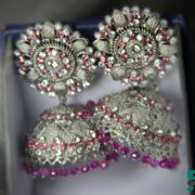 silver plated earrings / jhumkey with silver and pink stones