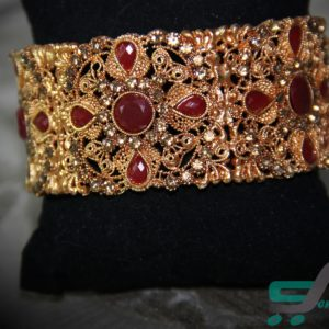 gold plated bangle with maroon stones