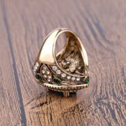 Gentryhive Ancient Gold Plated Green Crystal Ring