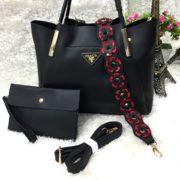 Beautiful Flower Strip Handbag